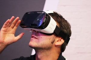 A Man Using Samsung Gear VR