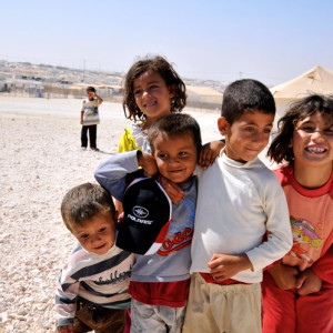 children at Zaatari refugee camp, Jordan